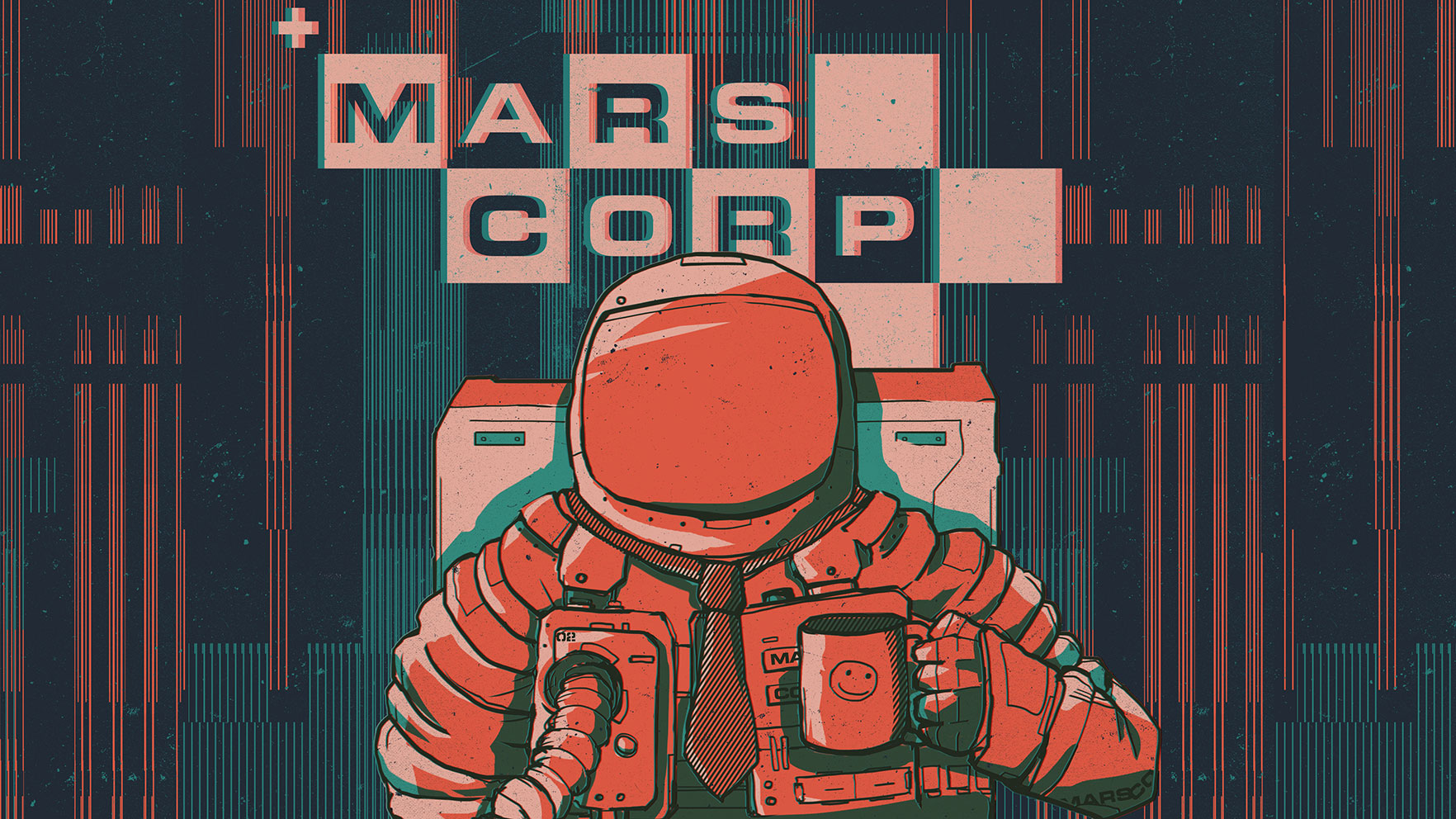 MarsCorp spaceman logo wide