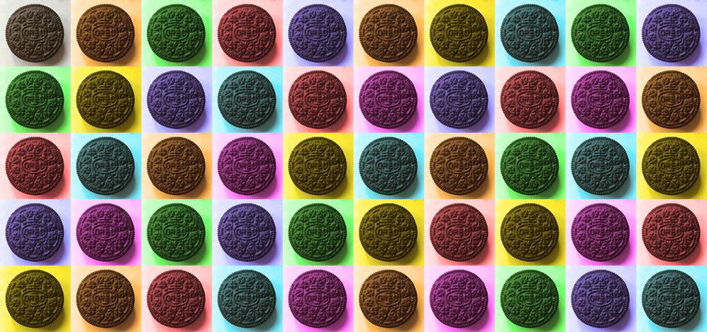 Multicoloured collage of Oreo cookies